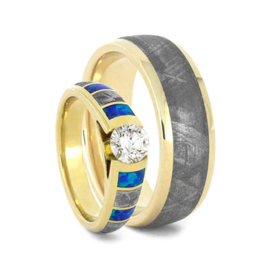 Unique Gold Wedding Ring Set Diamond And Opal Ring With Meteorite