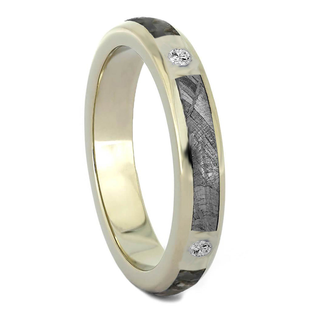 Diamond Wedding Band with Meteorite and Dinosaur Bone-3179 - Jewelry by Johan