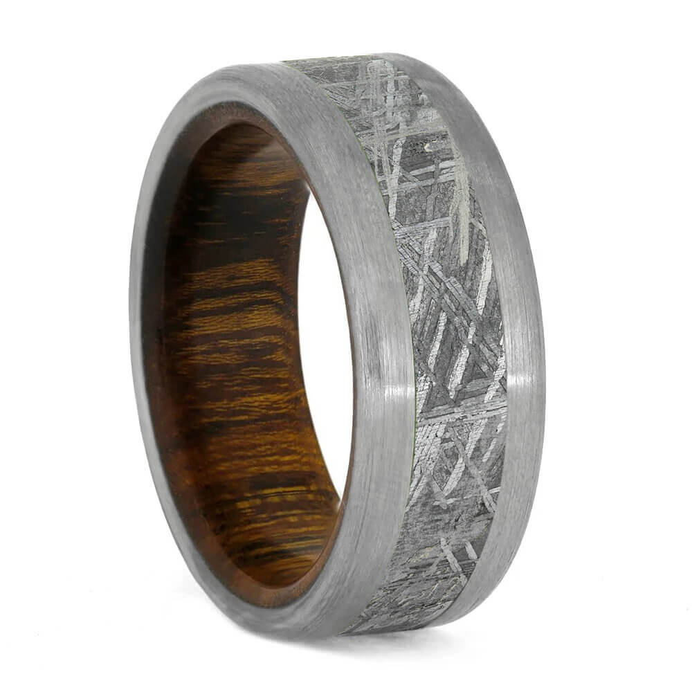 Meteorite Ring With Ironwood Sleeve And Titanium Edges-3182 - Jewelry by Johan