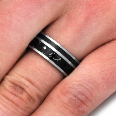 Tungsten Men's Ring With Stardust™ And Black Box Elder Burl Wood-3184 - Jewelry by Johan
