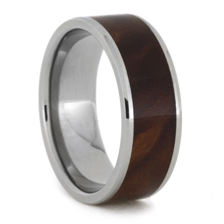 Ironwood Burl Men's Wedding Band In Polished Titanium, Size 9.5-RS8367 - Jewelry by Johan