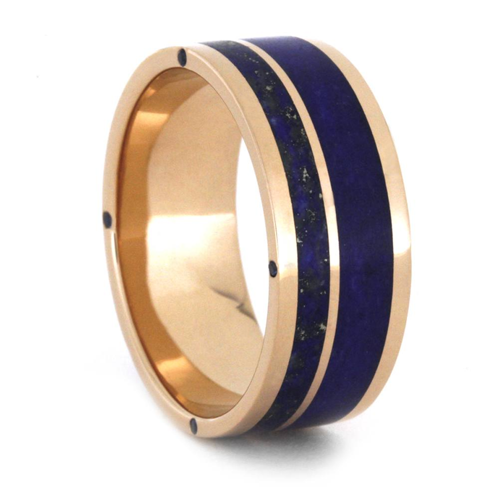 Rose Gold Wedding Band With Lapis Lazuli And Sapphires, Size 10-RS9706 - Jewelry by Johan