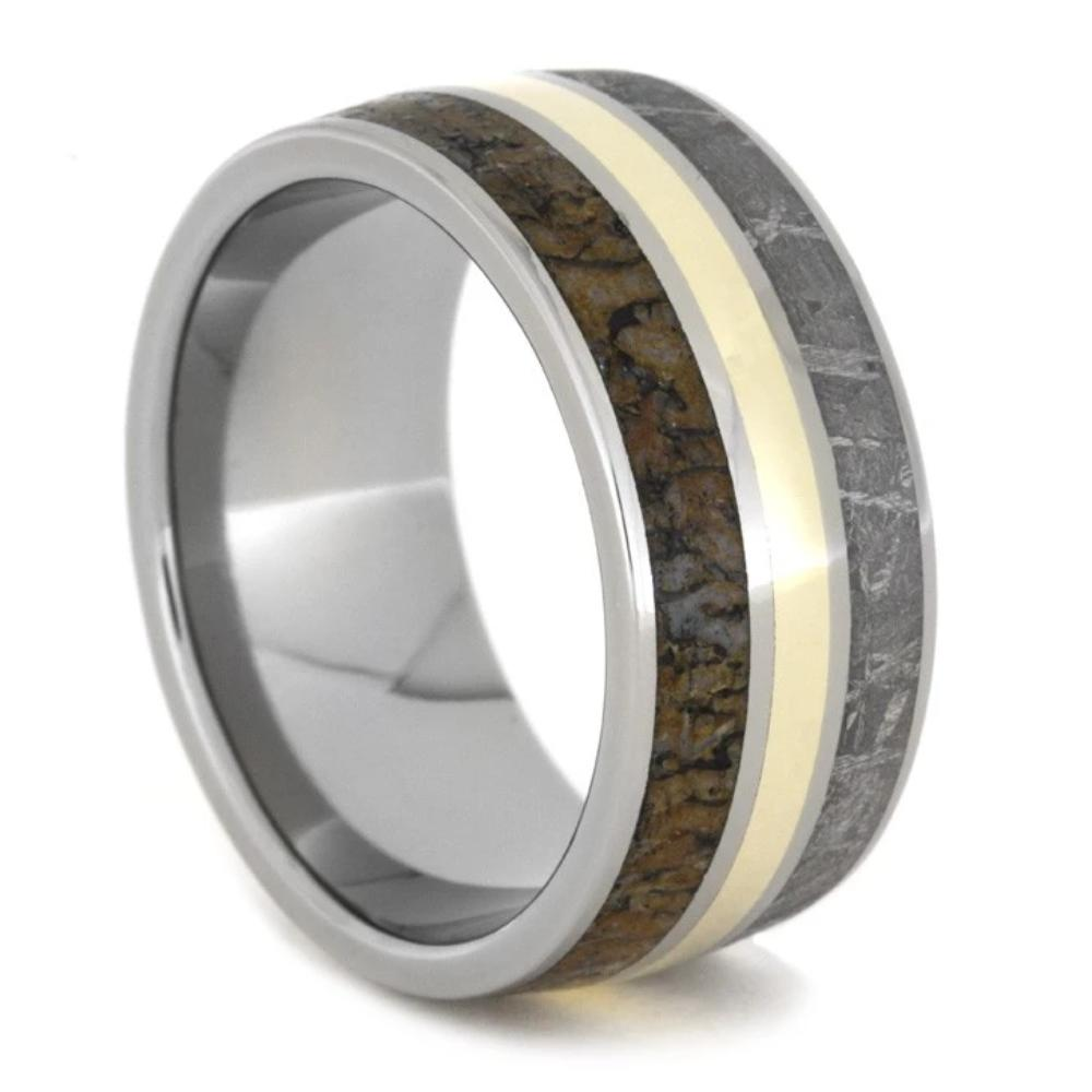 Titanium Ring inlaid with Meteorite, Dinosaur Bone and Yellow Gold-1049 - Jewelry by Johan