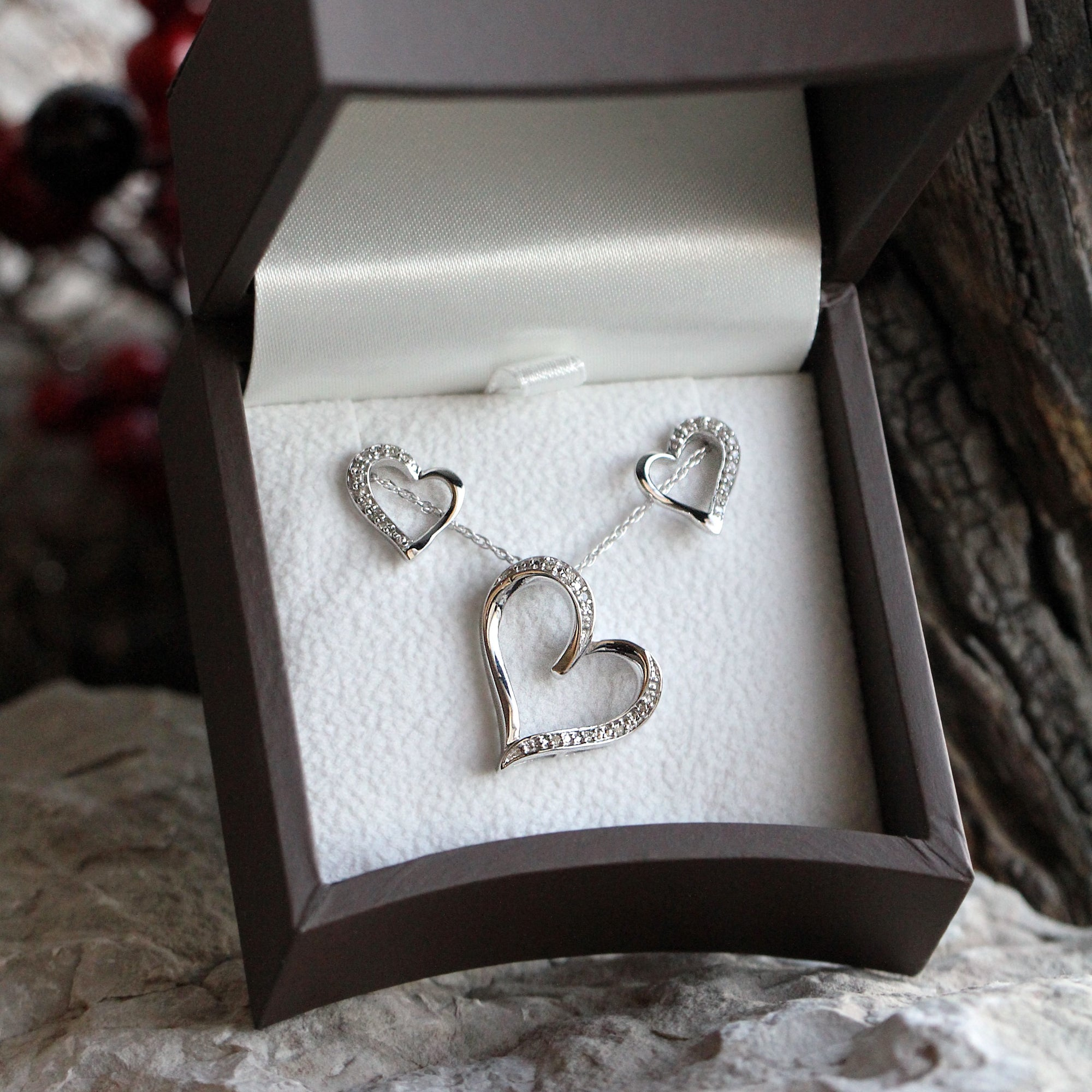 Sterling Silver Diamond Heart Necklace and Earrings Gift Set
