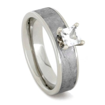 Princess Cut White Sapphire Ring with Meteorite in White Gold-1762 - Jewelry by Johan