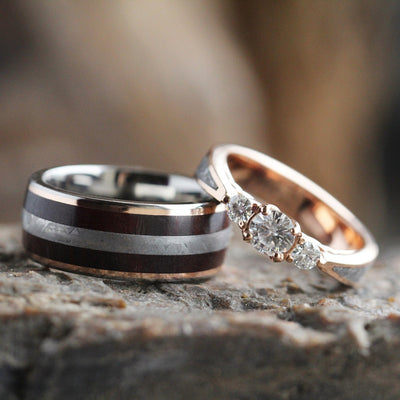Meteorite Wedding Ring Set, Moissanite Engagement Ring With Petrified Wood Wedding Band-3552 - Jewelry by Johan