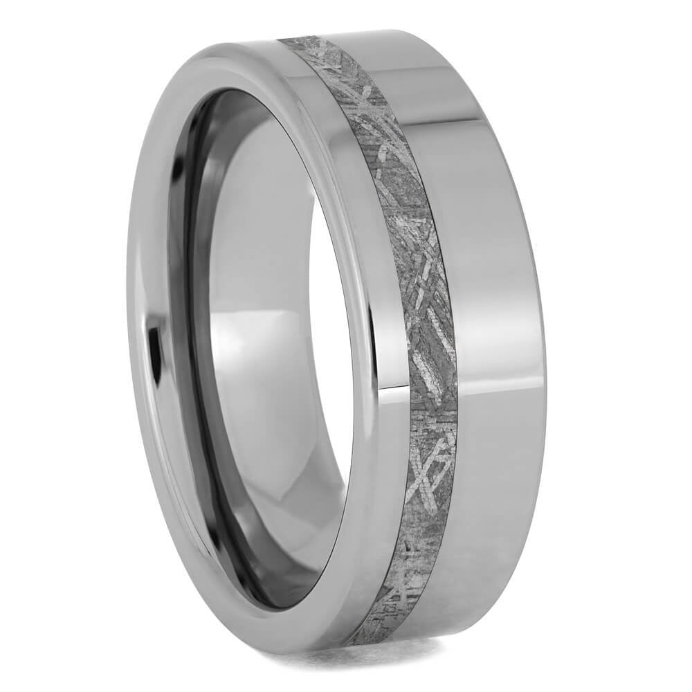 Simple, Meteorite Wedding Band For Men, Tungsten or Titanium