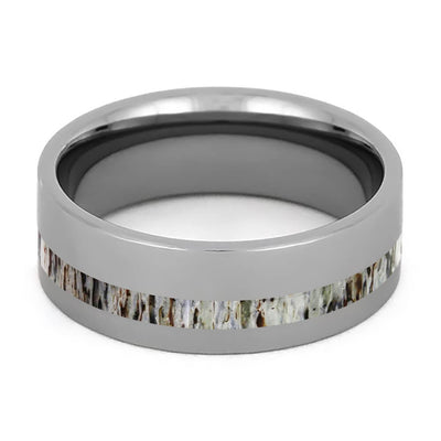 Antler and Tungsten Wedding Band with Polished Finish