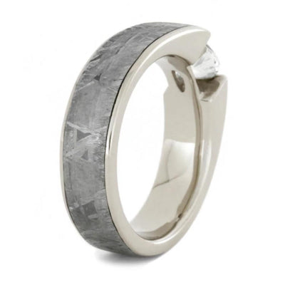Tension Set White Sapphire Ring with Meteorite in White Gold-1805 - Jewelry by Johan