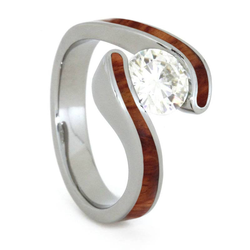 Tulipwood Engagement Ring in Tension Set Titanium with Moissanite-3863