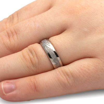 Meteorite Ring, Unisex Wedding Band with Genuine Gibeon Meteorite-3264 - Jewelry by Johan