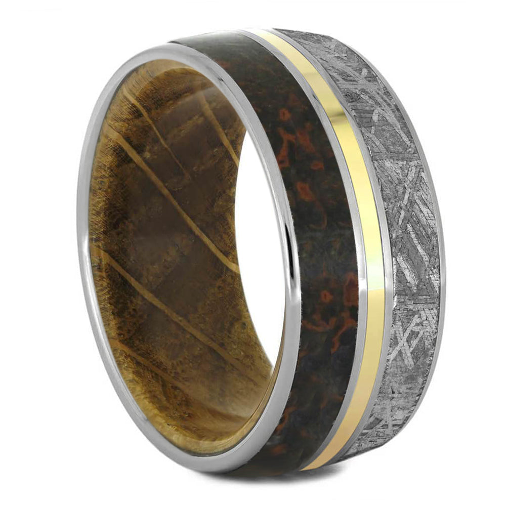 Meteorite & Dinosaur Bone Ring With Wood Sleeve & Gold Pinstripe - Jewelry by Johan