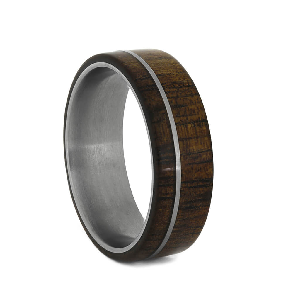 Koa Wood Ring, Titanium Pinstripe In Wooden Ring-3266 - Jewelry by Johan