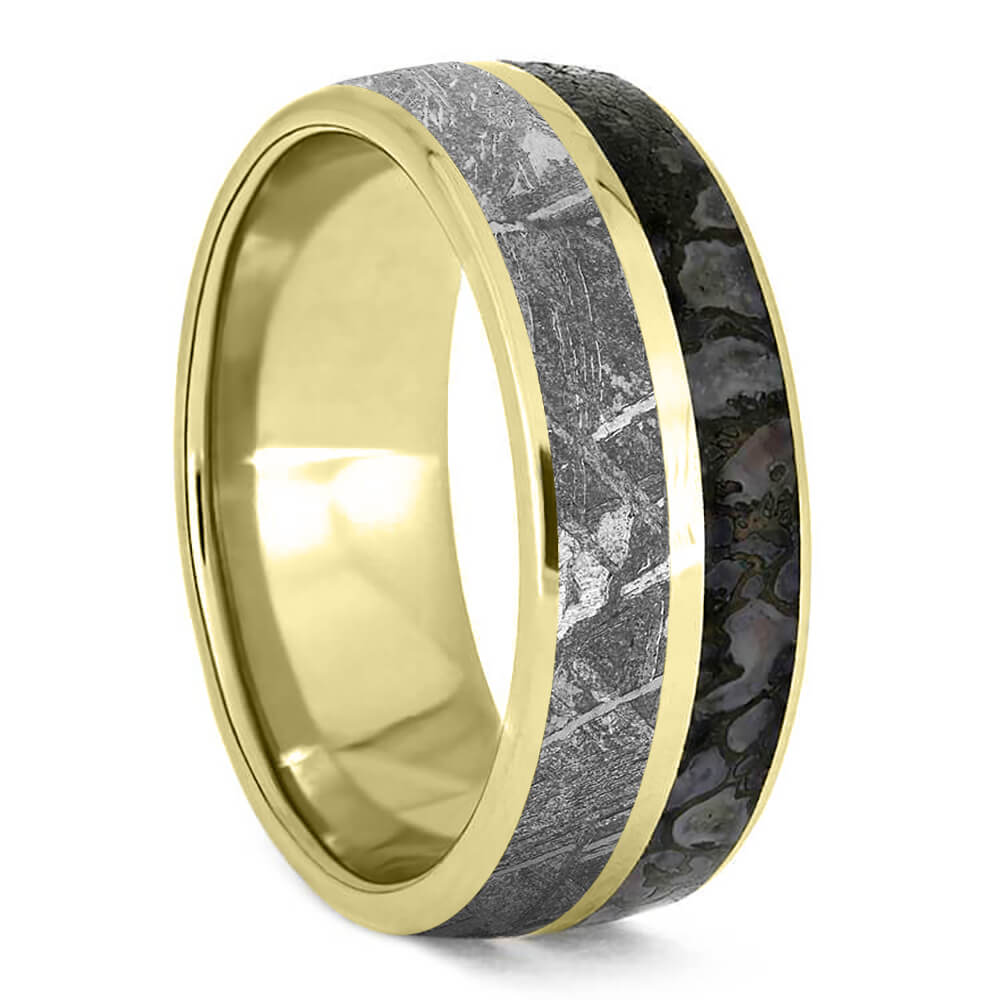 Plus Size Men's Yellow Gold Ring with Dinosaur Bone and Meteorite-3278X - Jewelry by Johan