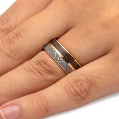 Dinosaur Bone Ring with Meteorite, Yellow Gold Men's Wedding Band-3278 - Jewelry by Johan