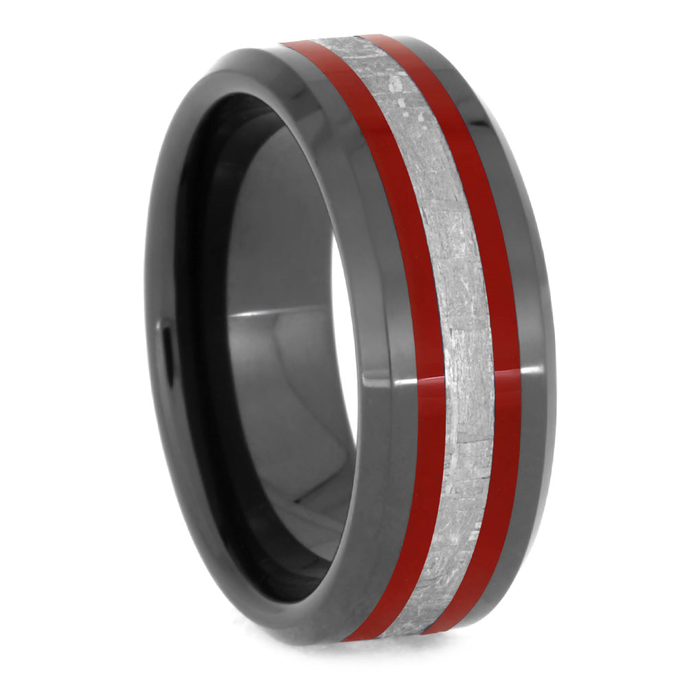 Black Ring with Red Stripes and Meteorite-2630RD - Jewelry by Johan