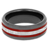Black Ring with Red Stripes and Meteorite-3287 - Jewelry by Johan