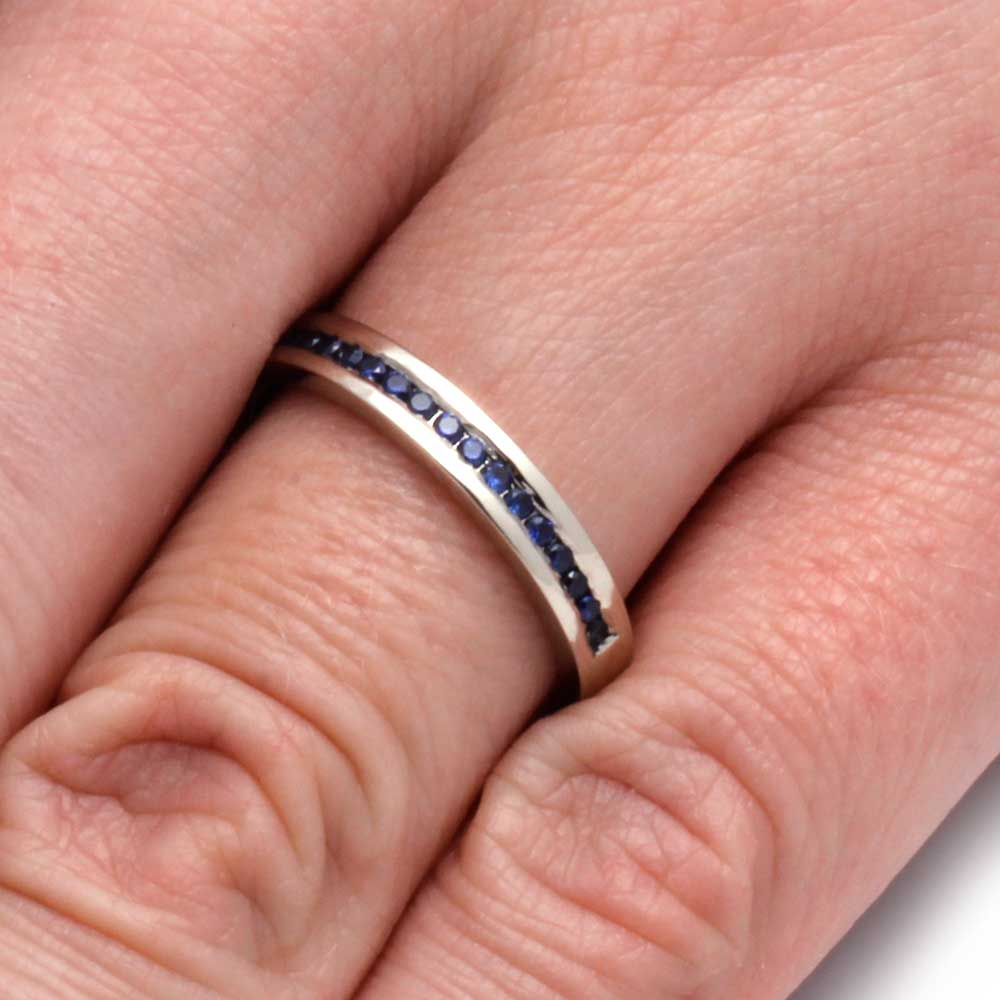 White Gold Wedding Band with Channel Set Sapphires - Jewelry by Johan