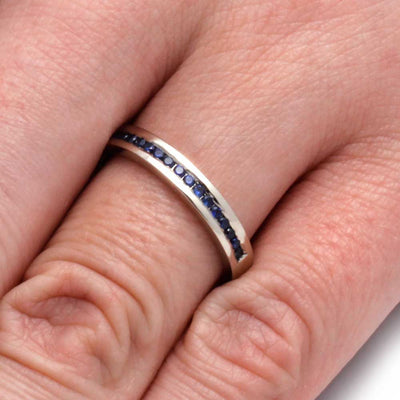 White Gold Wedding Band with Channel Set Sapphires-2933 - Jewelry by Johan