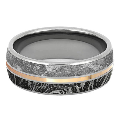 Meteorite and Mokume Gane Ring with Rose Gold Pinstripe-3290RG - Jewelry by Johan