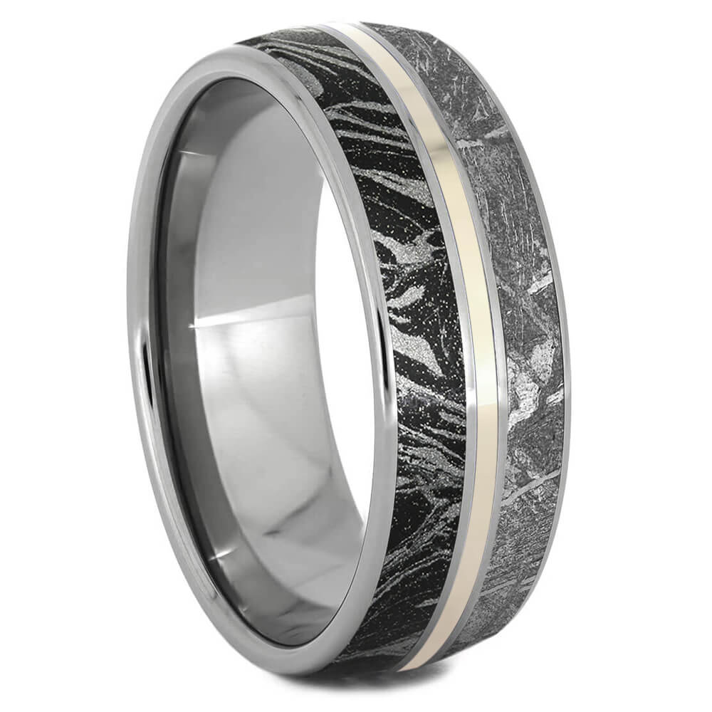 Meteorite, White Gold and Black and White Mokume Men's Wedding Band-3290WG - Jewelry by Johan