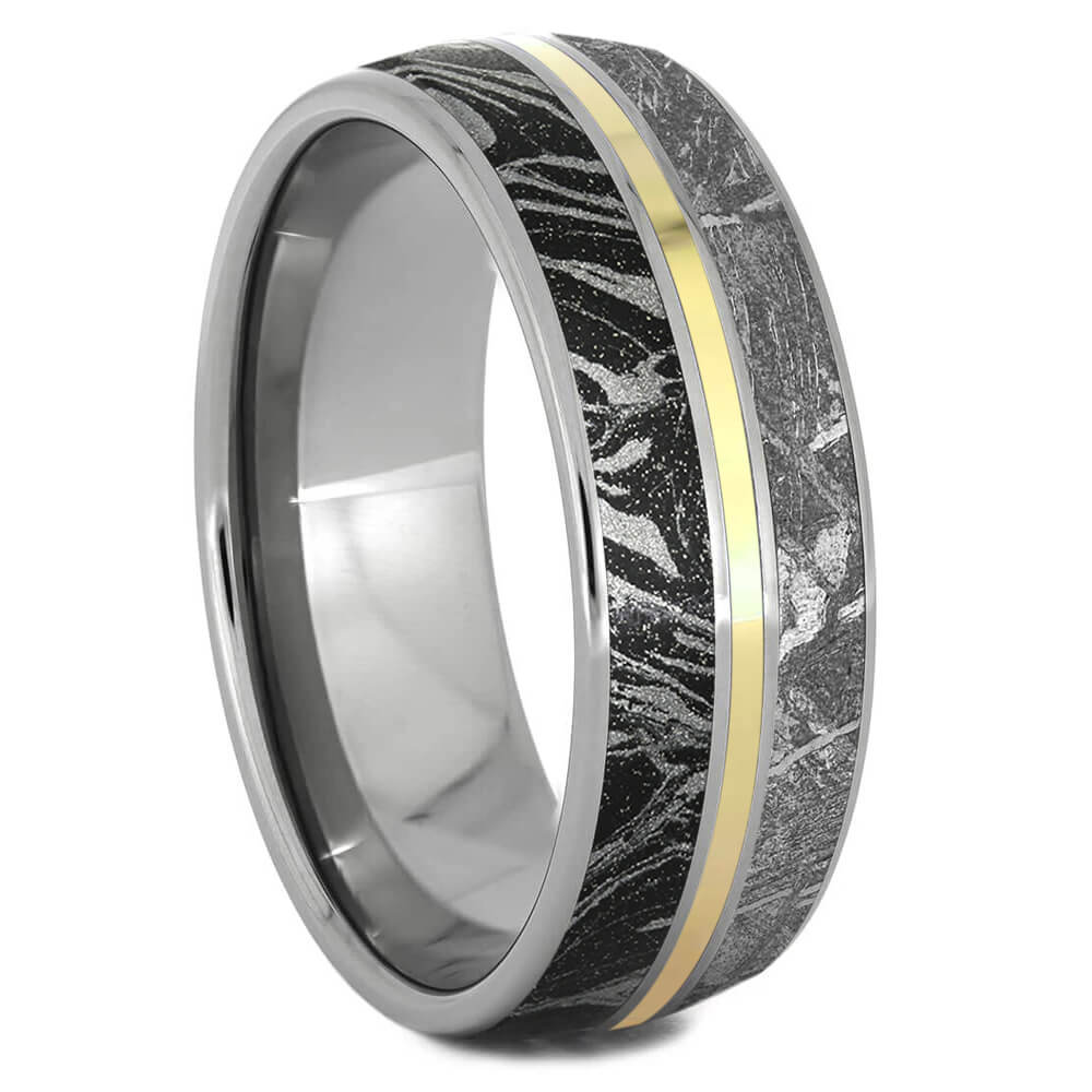 Meteorite and Mokume Gane Ring with Yellow Gold Pinstripe-3290YG - Jewelry by Johan