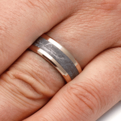 Black And White Composite Mokume Gane Ring With 14k Gold-2135 - Jewelry by Johan