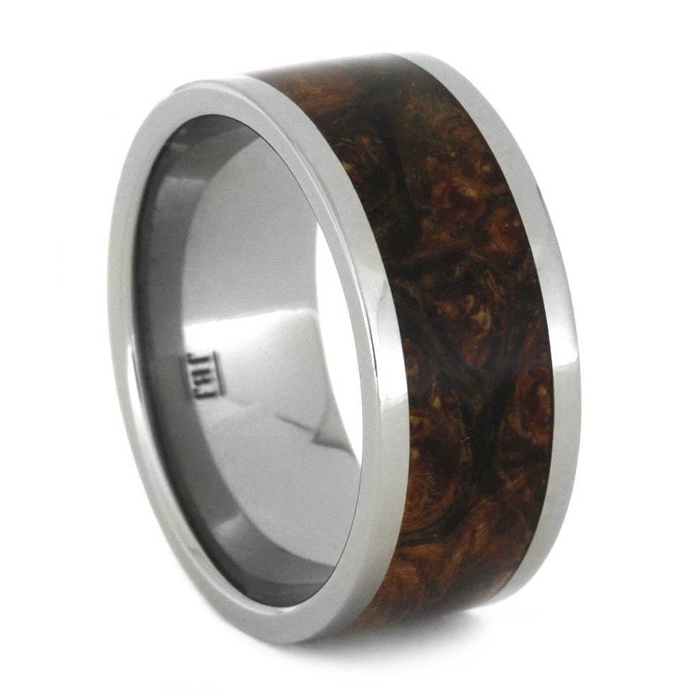 Camo Burl Wood Men's Wedding Ring In Titanium
