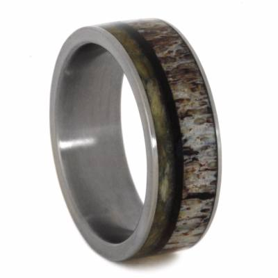 Titanium Ring With Natural Shed Deer Antler And Wishbone