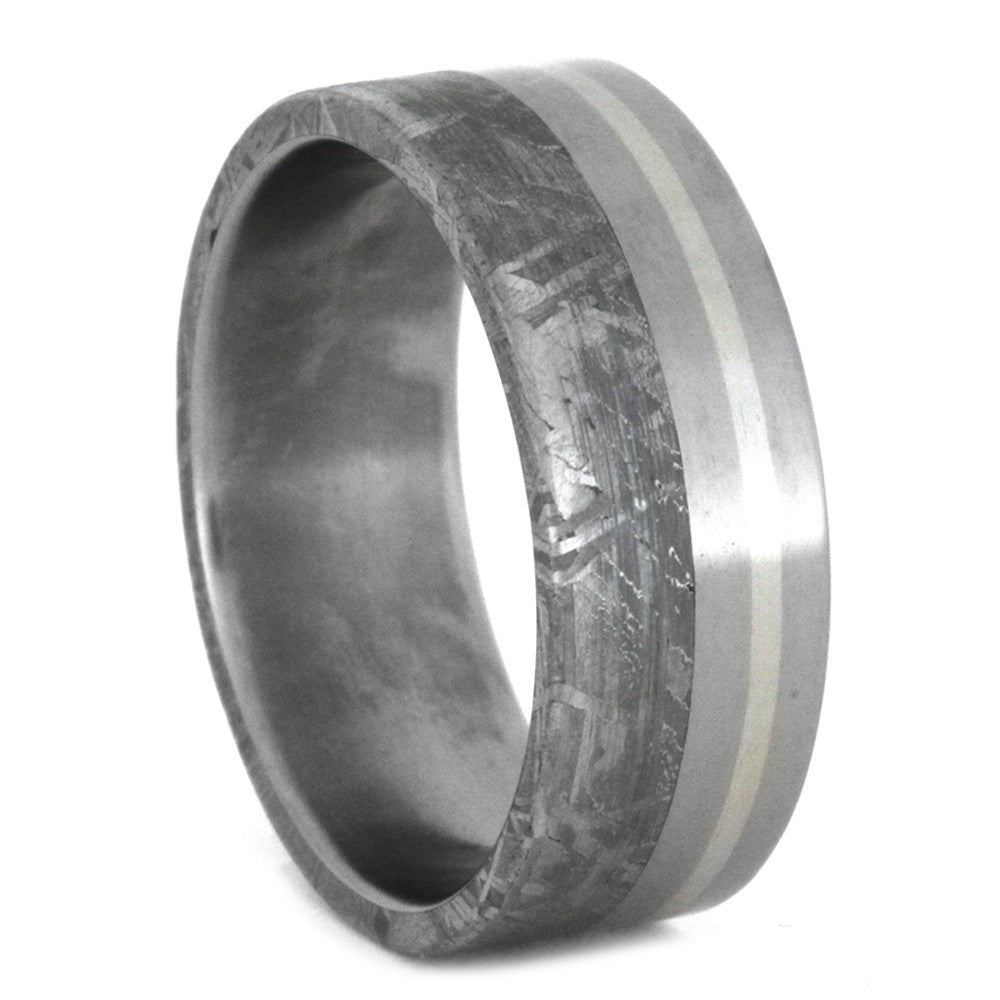 Titanium Wedding Band with Meteorite And Palladium Pinstripe, Size 9-RS8678 - Jewelry by Johan
