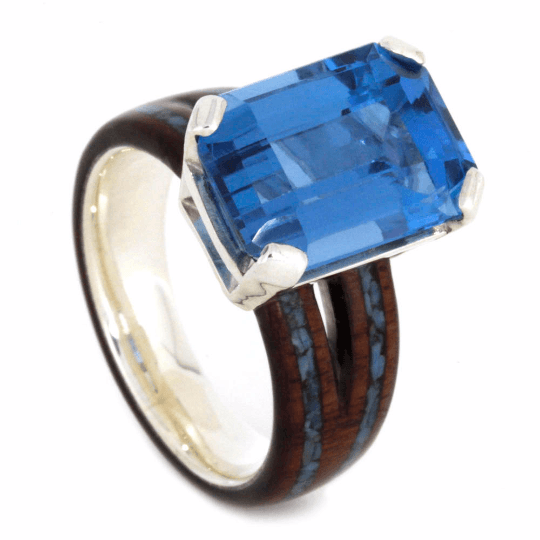 London Blue Topaz Engagement Ring with Wood and Turquoise-2226 - Jewelry by Johan