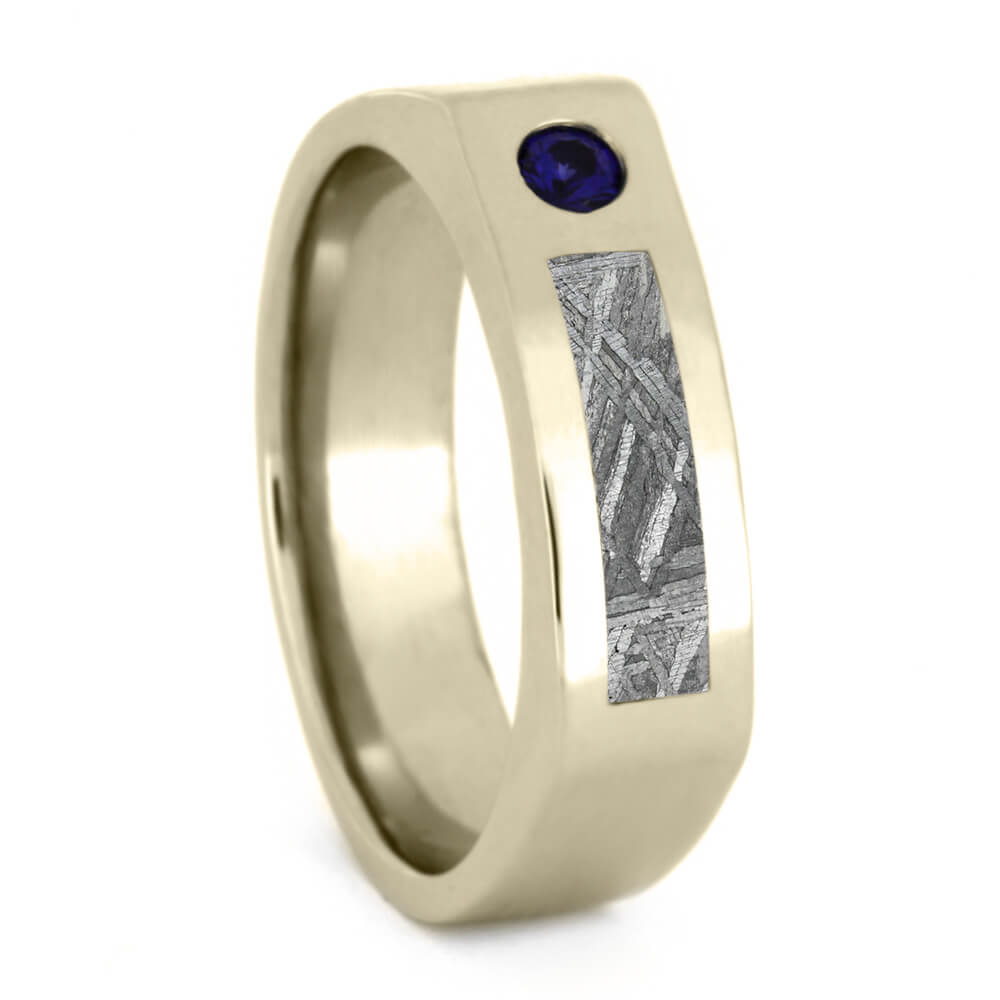 Mens Meteorite Ring, Blue Sapphire Wedding Ring in White Gold-3344 - Jewelry by Johan
