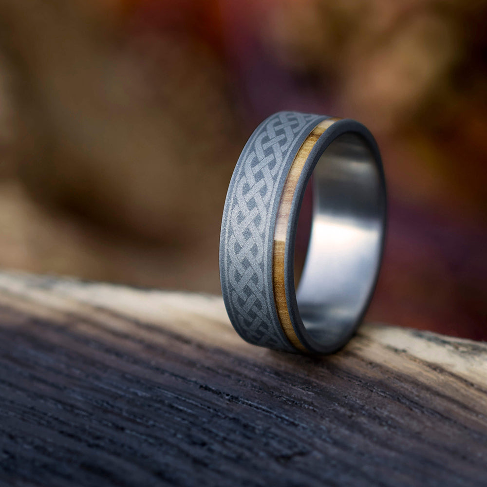 This is a picture of Celtic Knot Ring, Mens Wood Wedding Band With Engraving, Titanium Ring-30