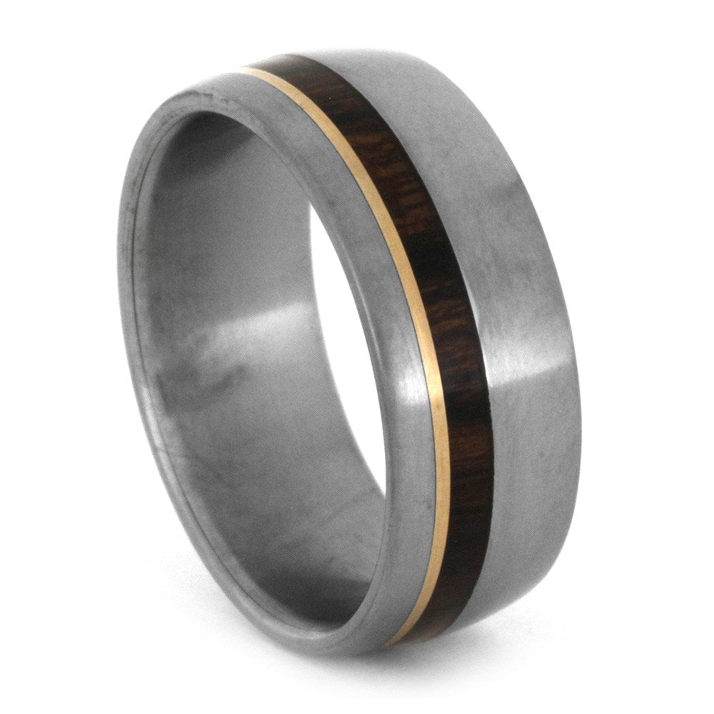 Matte Titanium Ring With Wood And Rose Gold Pinstripes, Size 7.5-RS8604 - Jewelry by Johan