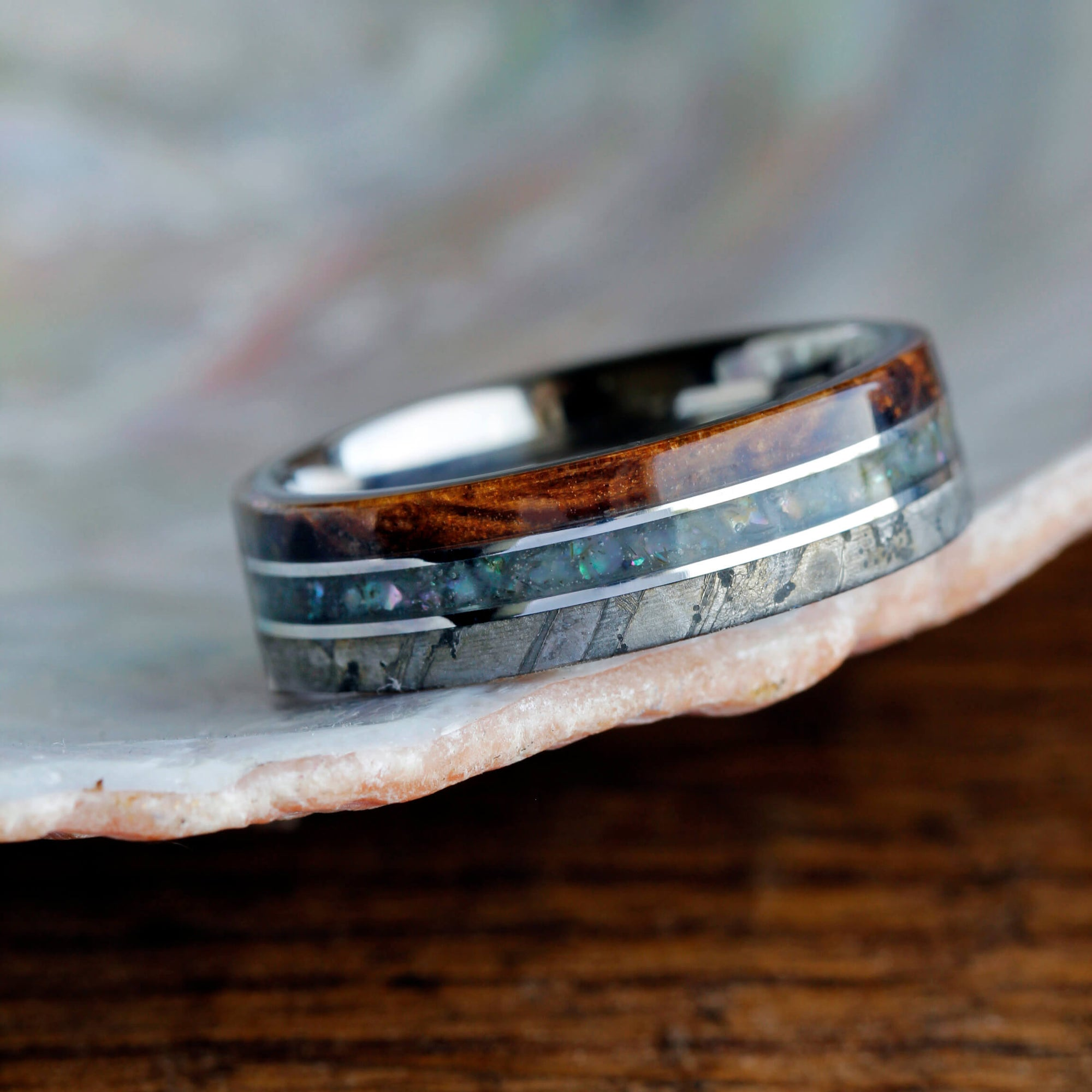 inlay thin and co abalone products rings wedding devocean wood ring koa