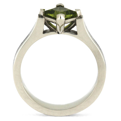 Peridot Engagement Ring, Meteorite Gemstone Ring In 10k White Gold-3362 - Jewelry by Johan