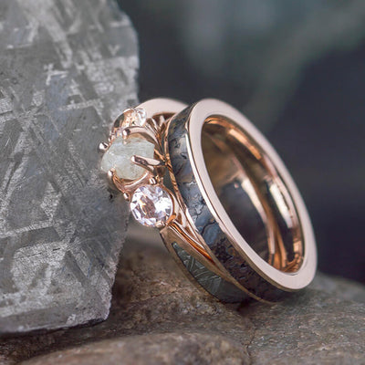 Rose Gold Ring Set With Three Stone Meteorite Engagement Ring-2533 - Jewelry by Johan