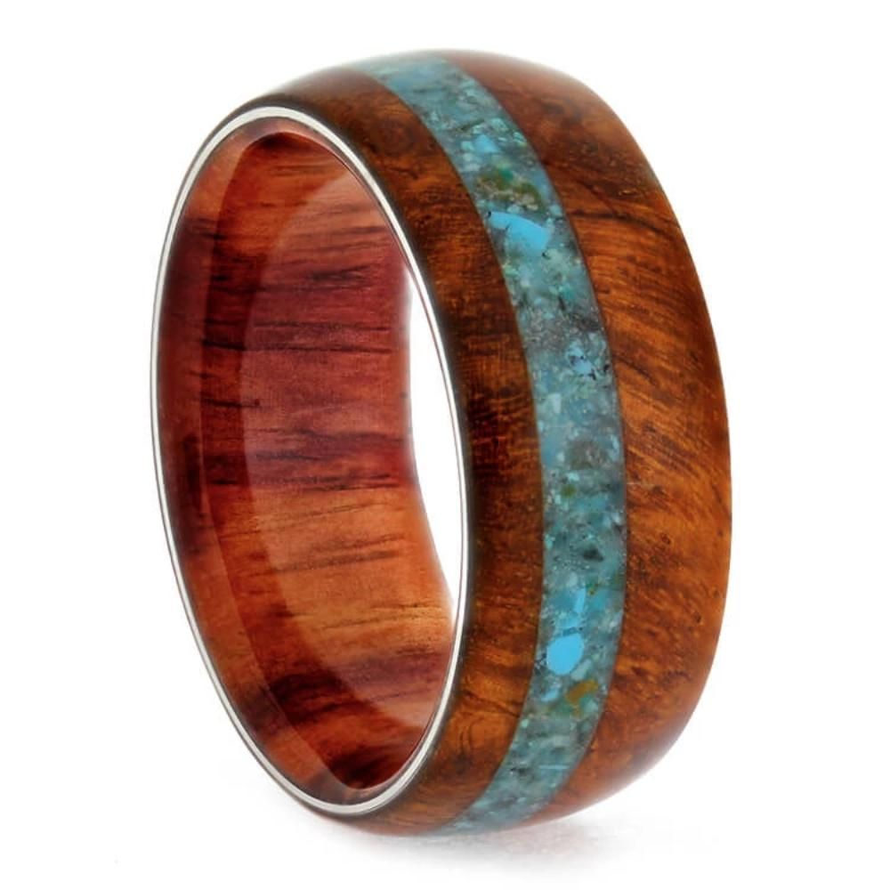 Natural Wood Wedding Band With A Crushed Turquoise Pinstripe-3466