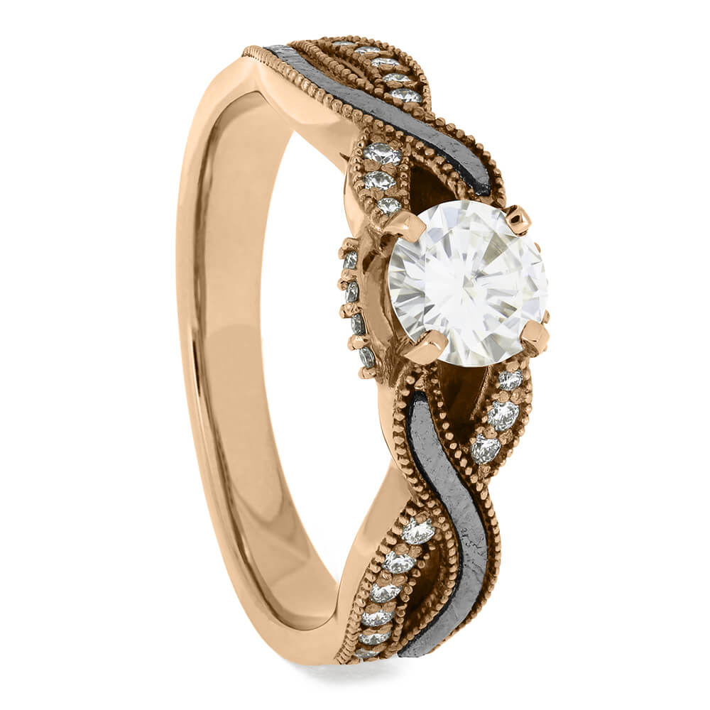 Twist Shank Rose Gold Moissanite Engagement Ring With Meteorite-3378RG - Jewelry by Johan