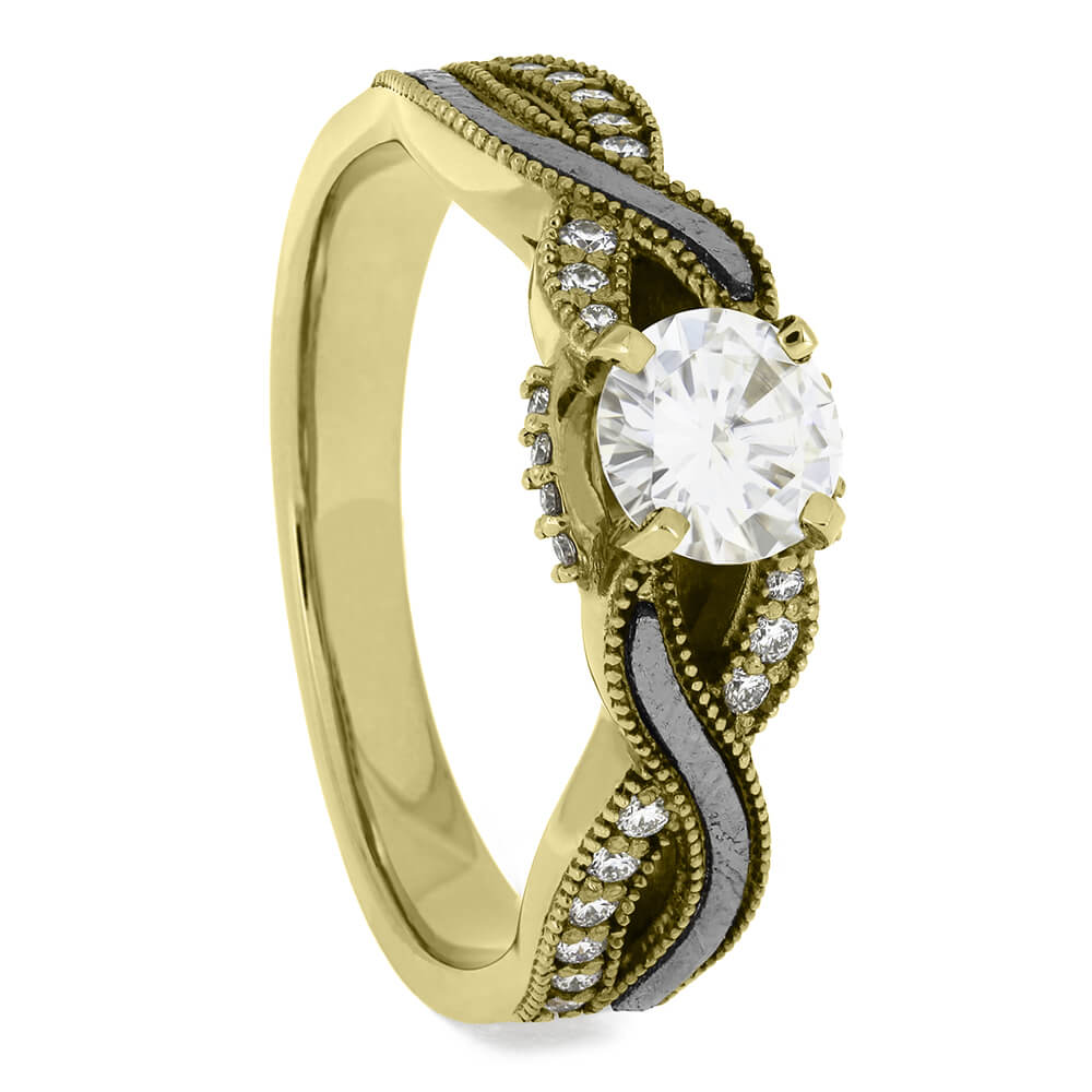Twist Meteorite And Diamond Shank Engagement Ring in Yellow Gold-3378YG - Jewelry by Johan