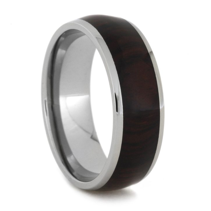 Cocobolo Wood Men's Ring In Titanium Band, Size 12-RS8358 - Jewelry by Johan