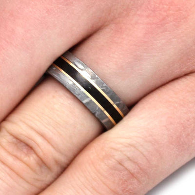 Meteorite Ring with Yellow Gold Around Dinosaur Bone-3187 - Jewelry by Johan