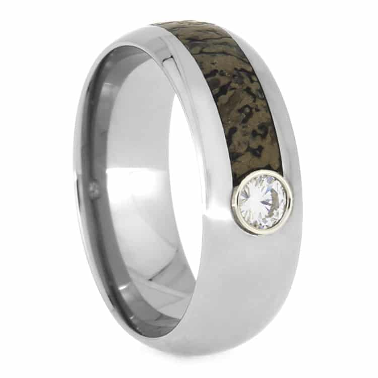 rings crushed band wedding black bone dinosaur ring mens pin ceramic