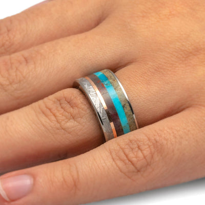 Unique Men's Ring with Meteorite, Dinosaur Bone, Turquoise and Petrified Wood-3400 - Jewelry by Johan
