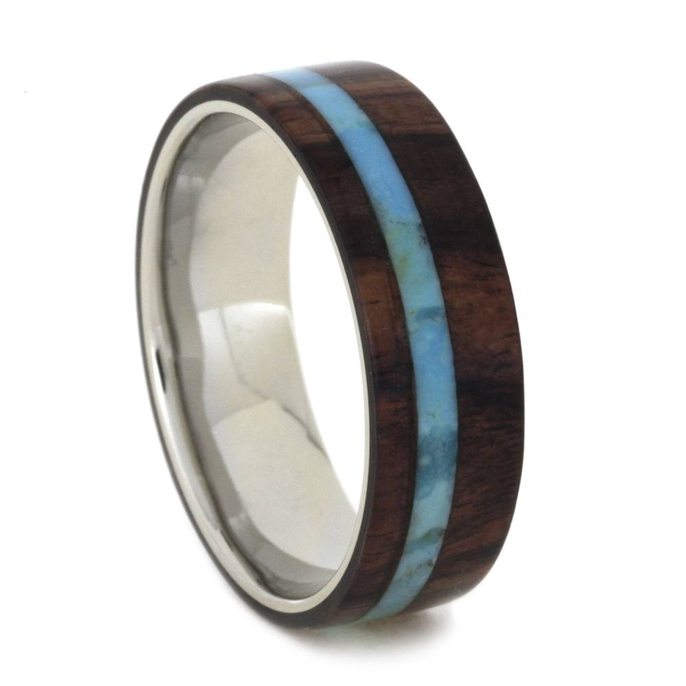 White Gold Wedding Band with King Wood and Turquoise Ring-2003 - Jewelry by Johan