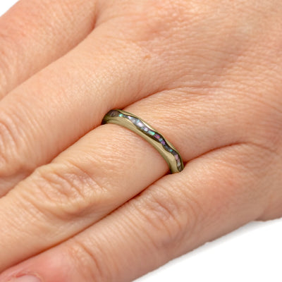 Abalone Wedding Band in 14k Yellow Gold, Wavy Design-3415 - Jewelry by Johan