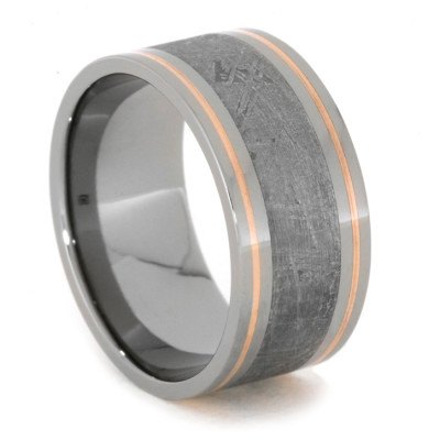 Meteorite Men's Wedding Band With Copper Pinstripes