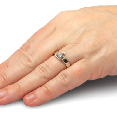 Triangle Meteorite Engagement Ring in 14k White Gold-3423 - Jewelry by Johan