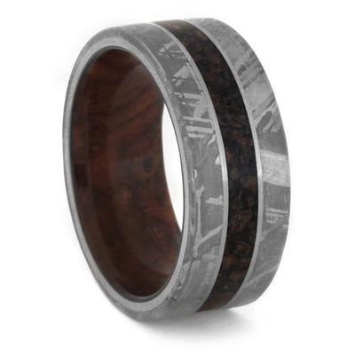 Crushed Fossil and Meteorite Ring