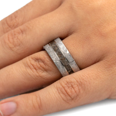 Dinosaur Bone Men's Wedding Band, Meteorite Ring With Exotic Wooden Sleeve-3429 - Jewelry by Johan